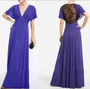 BCBGMAXAZRIA 'Liz' Persian Blue Jersey Lace Gown S